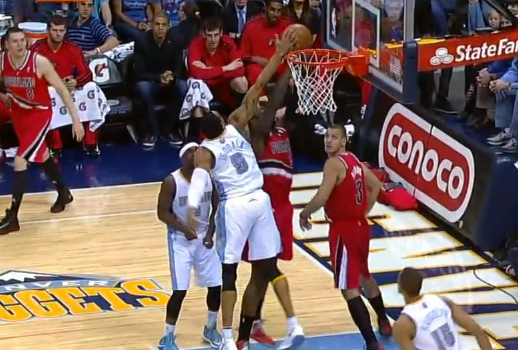 Andre Iguodala blocks a shot on one end and finishes on the other with a strong dunk