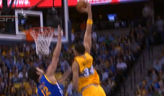 "Javale McGee dunks on Andrew Bogut & yells ""get off me"""