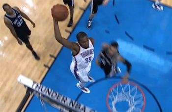 "Kevin Durant dunks on the Spurs & Reggie Millers says ""Mommy has some things for daddy to do!"""