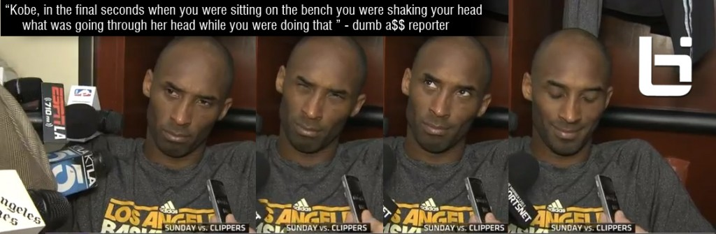 SMH: Kobe shakes his head at reporter that asked him what he was thinking when he was shaking his head