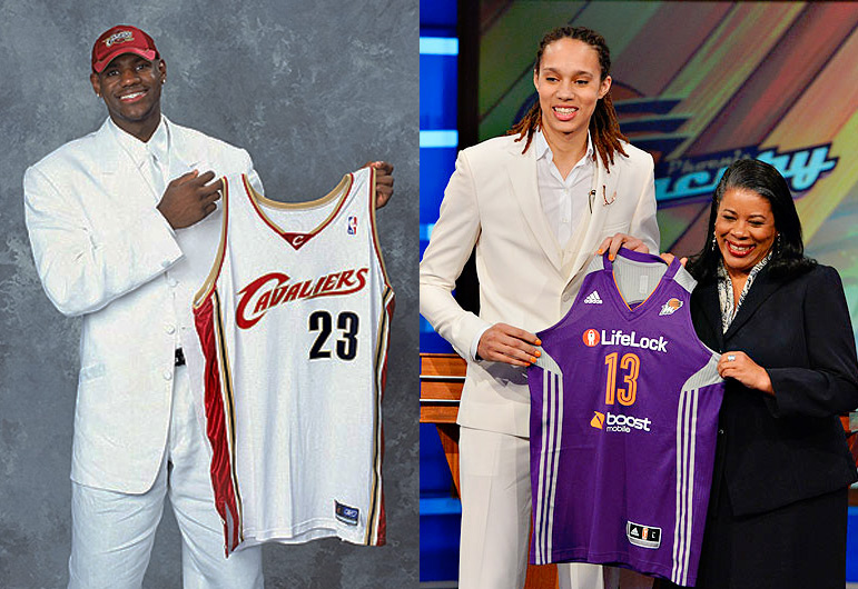 Brittney Griner drafted #1 by Phoenix in the 2013 WNBA Draft | Dresses like LeBron from 2003 Draft