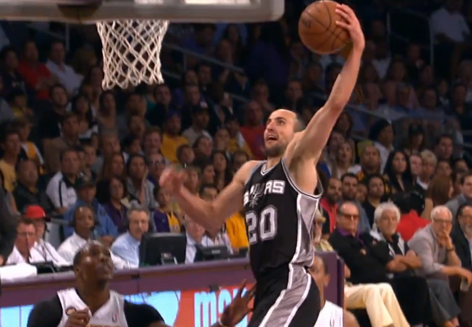 Manu's big dunk on the Lakers yesterday and huuuuuge dunk on Lakers 6 years ago