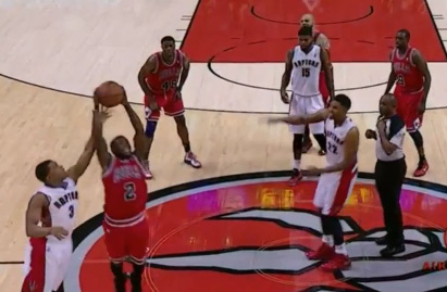 """5'9″ Nate Robinson's Funny jump ball steal against 6'8″ Rudy Gay 
