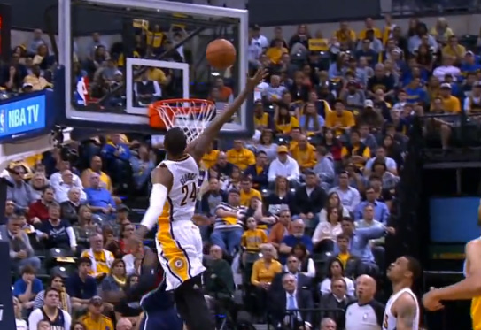 Paul George triple double vs the Hawks / Nasty rejection on Shelvin Mack