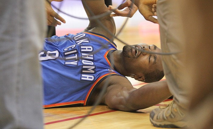 Serge Ibaka collapes to the floor after missing a wide open game-tying lay up