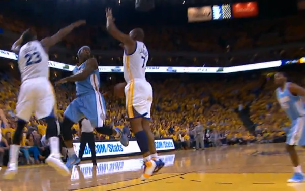 Ty Lawson puts Jarret Jack on skates & behind the back pass to Kenneth Faried for the dunk