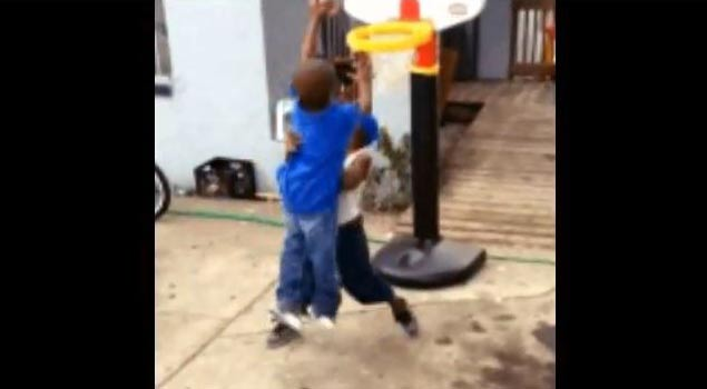 Throwback: 3 Year Old Dunking ALL OVER Another 3 Year Old On Fisher Price Hoop! Hilarious
