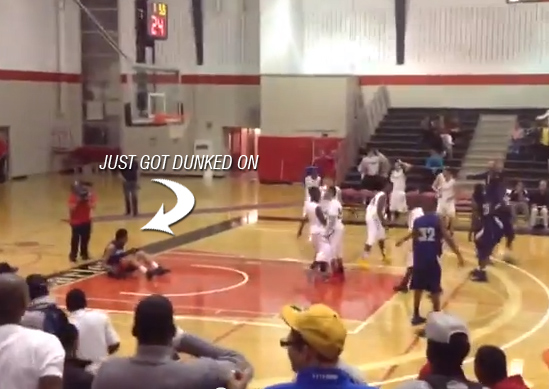 Nasty dunk at Ottawa High School All-Star game / defender hits the floor & crowd jumps up