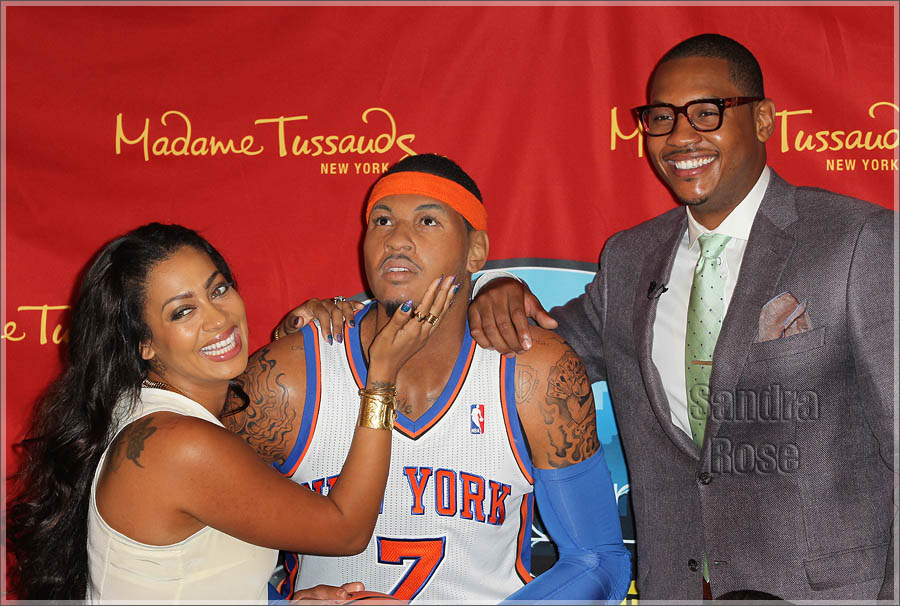 NY Knicks Carmelo Anthony poses next to his wax likeness at Madame Tussauds in Midtown, NYC
