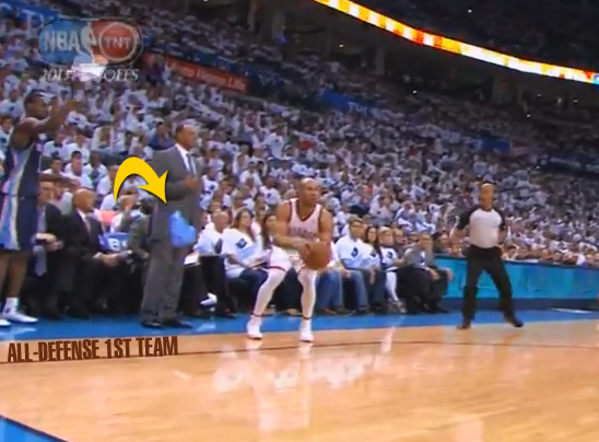 Tony Allen throws towel onto court to mess up Derek Fisher's 3 point attempt