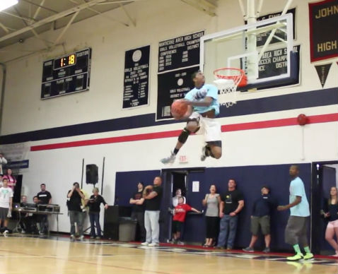 Best alley-oop pass ever? Pat The Roc kick pass off the backboard to G-Smith for the dunk