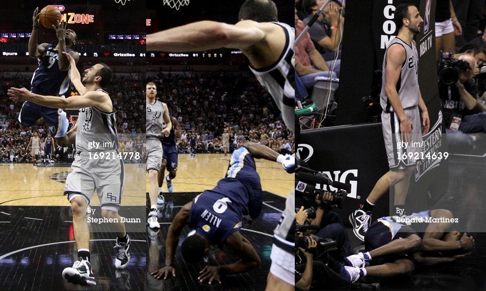 "Tony Allen's Oscar deserving flop after ""flagrant"" foul from Manu"