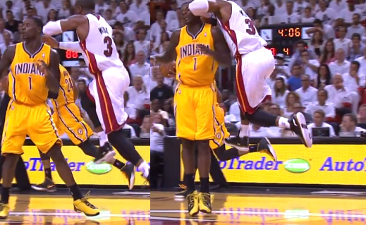 Dwyane Wade delivers a flying elbow to the head of Lance Stephenson. Intentional?