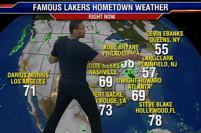 Metta World Peace Does the Lakers Hometown Weather Report on Fox11