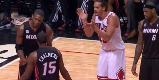 Joakim Noah cheers on Chris Bosh going off on Chalmers