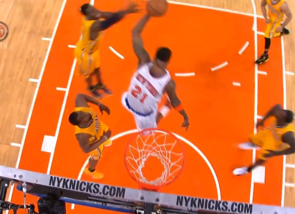 Iman Shumpert NASTY & emphatic hair above the rim putback dunk in GM2