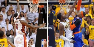 Spot the difference in this pic of LeBron & Carmelo | Roy Hibbert talks about watching LeBron's game winner from the bench