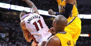 Paul George's XXX Facial Dunk over Birdman! Dunk of the Playoffs!