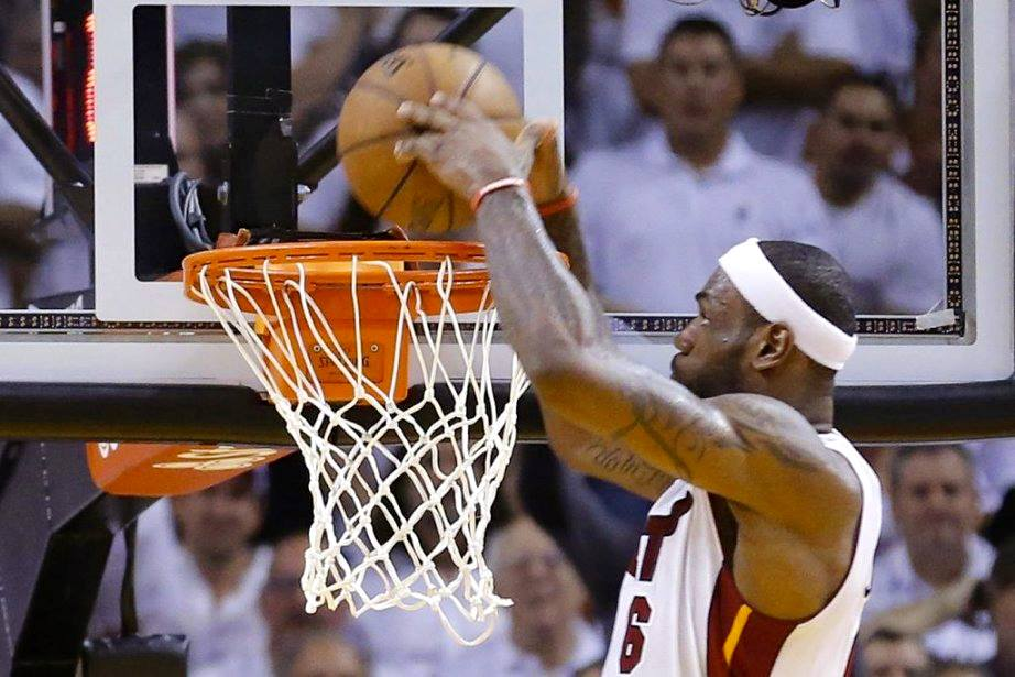 LeBron almost hits his head on the rim on alley-oop dunk in GM7