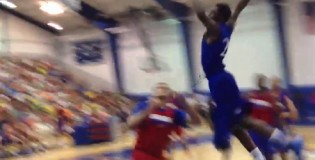 Andrew Wiggins makes a thunderous debut in front of Kansas fans with a monster dunk