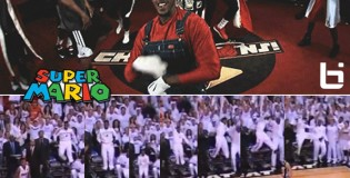 Super Mario Chalmers shows off his hops celebrating Ray Allen's 3 pointer