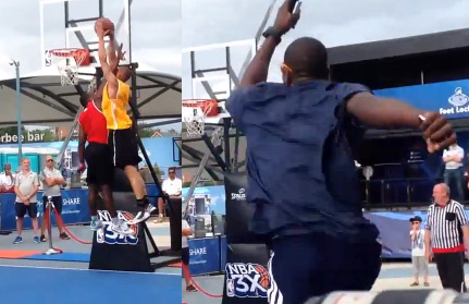 Nathan Schall's nasty NBA3x dunk – Serge Ibaka jumps out of his seat