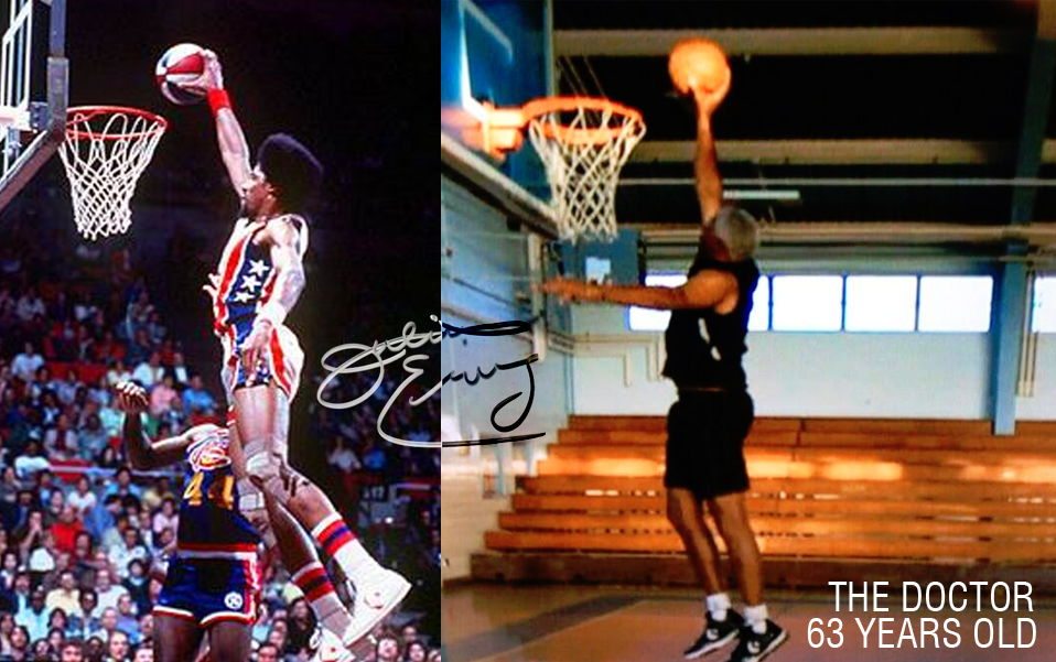 Dr J dunking at 63 years old (extended footage)