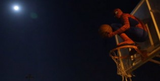 Spiderman is back on the basketball court showing how he workouts at night