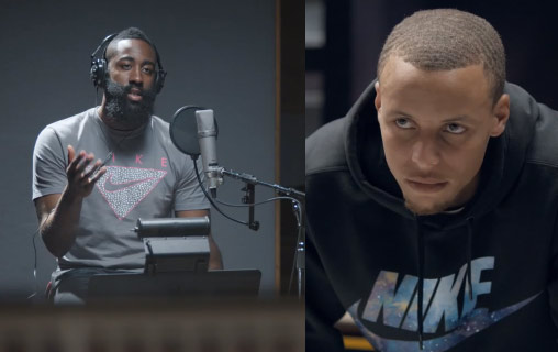 James Harden shows off his singing voice to Steph Curry in new Footlocker commercial