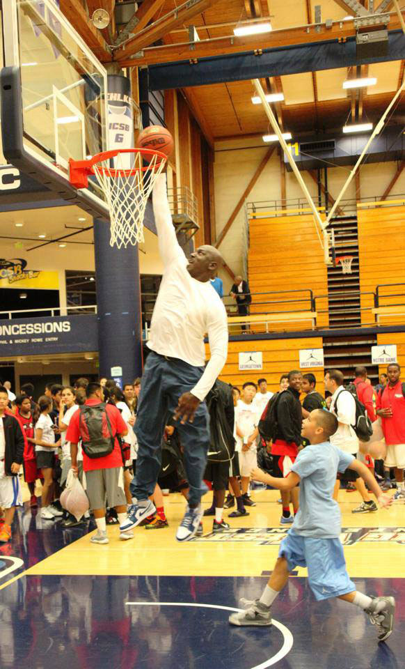 50 year old Michael Jordan dunks at his Flight School Camp