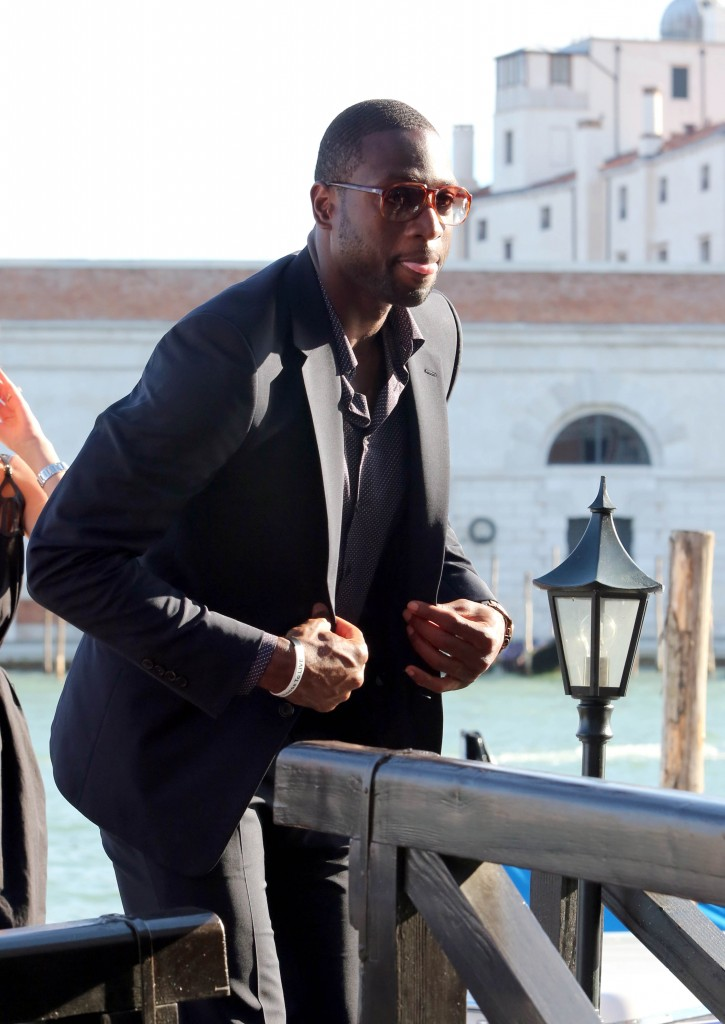 Dwyane Wade with Gabrielle Union and Michelle Dockery in Venice, Italy