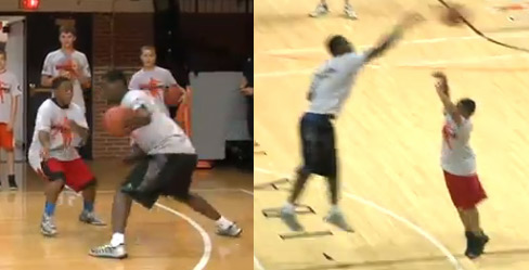 Tony Allen breaking ankles, fouling and blocking little kids at his camp