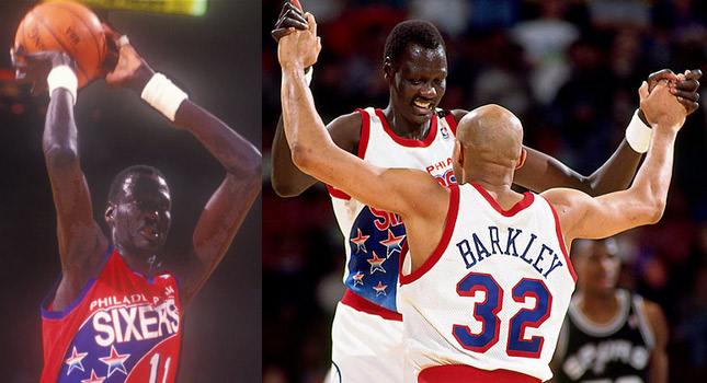 Manute Bol scores all 18 of his points on 3 pointers…in one half!