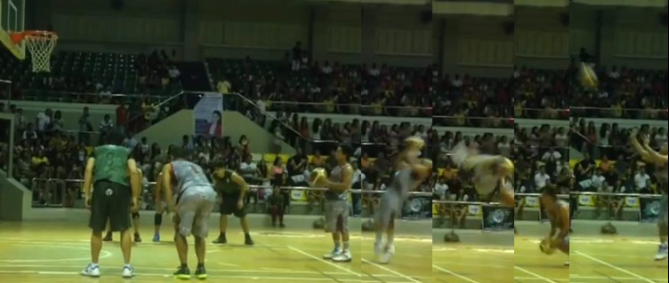 Craziest free throw routine ever! Filipino actor does a back flip at the FT line