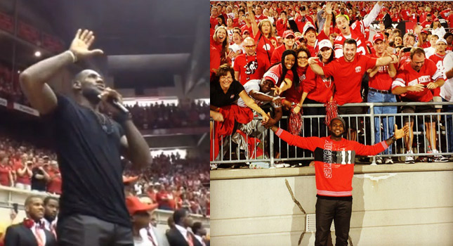 LeBron James gives speech to fans at Ohio State Football Pep Rally (Skull Session)