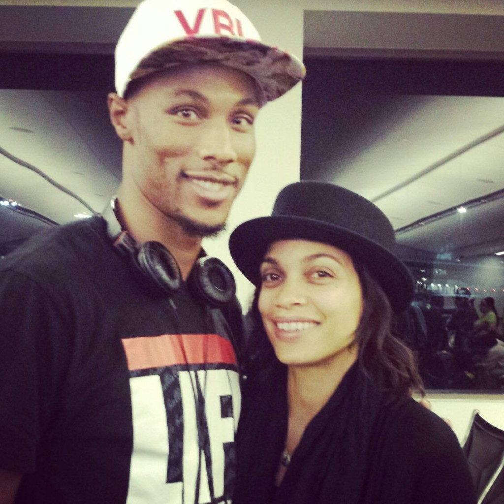 Dunk phenom Chris Staples with Rosario Dawson and a Ballislife shirt