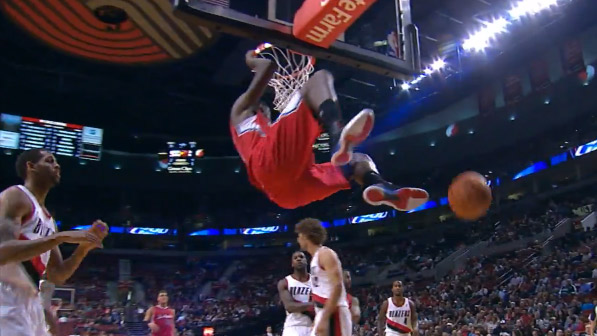 DeAndre Jordan blocks Thomas Robinson then catches the alley-oop from CP3