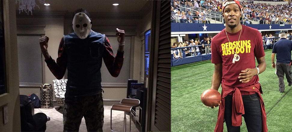 Kevin Durant dresses up as Jason Voorhees from Friday The 13th