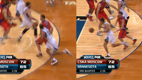 Kevin Love no-look bounce pass to Kevin Martin