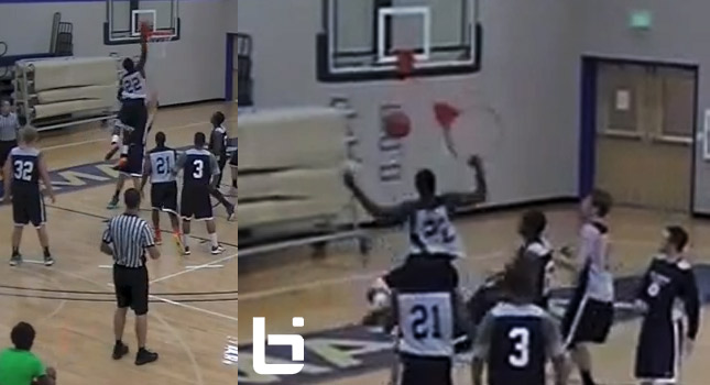 Wendell Powell posterizes defender, gets the foul and tears off the rim!