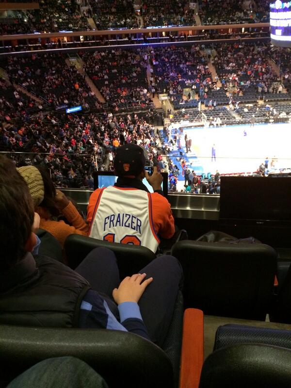 promo code 12db6 aafa5 Knicks Fan at the Knicks game with a Misspelled Walt Frazier ...
