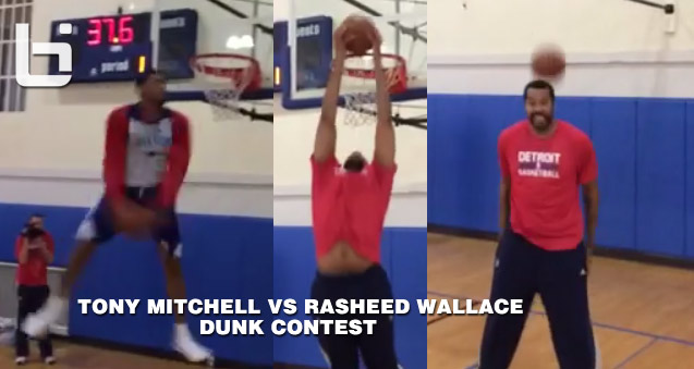 (Coach) Rasheed Wallace & Tony Mitchell dunk contest at Pistons' practice