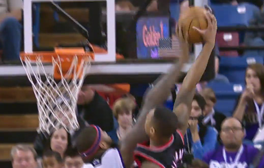 DeMarcus Cousins' blocks Damian Lillard's dunk attempt