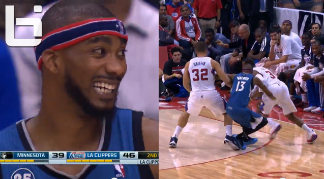 "Corey Brewer laughs after having his ""ankles broken"" by Chris Paul (?)"