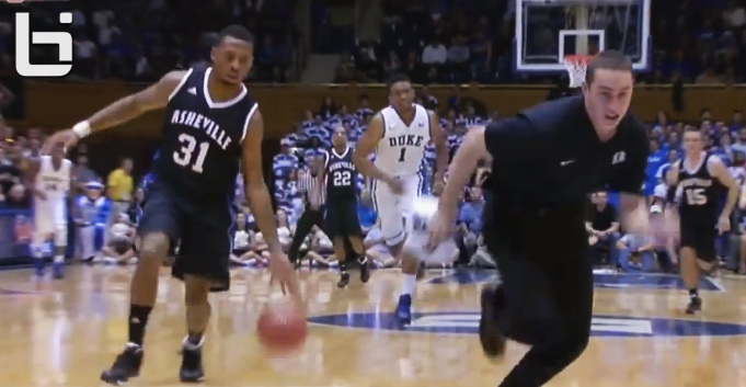Duke Ball boy almost gets dunked on by UNC Asheville's Sam Hughes