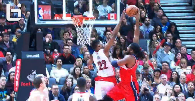 Rudy Gay says NoNo to NeNe's dunk attempt
