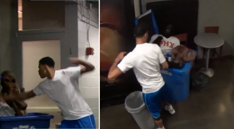 Gerald Green punches Gorilla mascot during Halloween prank
