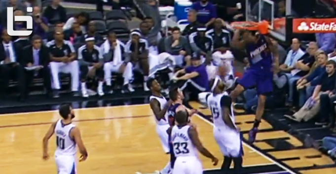 Gerald Green dunks & ducks to avoid hitting his head on the backboard