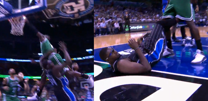 Jeff Green posterizes Jason Maxielll with the Jordan logo dunk