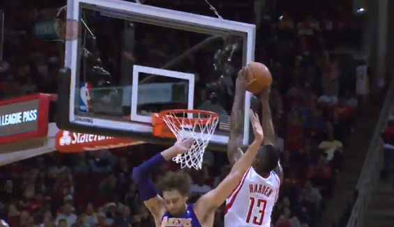 James Harden dunks on Pau Gasol